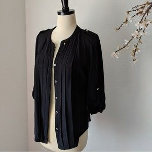 A.N.A. Blouse Pleat Button Up Career Professional
